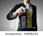 male hand drawing a graph | Shutterstock . vector #93098155