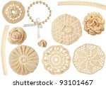 set of crochet handmade motifs isolated on white - stock photo