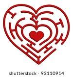 illustration of a heart maze.... | Shutterstock . vector #93110914