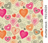 doodle seamless wallpaper with hand drawn Valentine hearts - stock vector