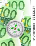many euro bank notes and a... | Shutterstock . vector #93122194