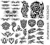 tattoo set | Shutterstock .eps vector #93136243