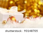 christmas gift box on decorated ... | Shutterstock . vector #93148705
