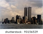 NEW YORK CITY - SEPTEMBER 19: The twin towers of the  World Trade Center and lower Manhattan on September 19, 1998 in New York - stock photo