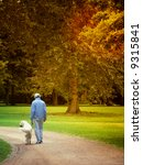 Stock photo man walking with his dog golden retriever in beautiful autum park with sun light friendship and 9315841
