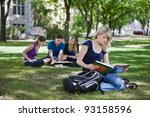 college students studying in... | Shutterstock . vector #93158596