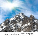 landscape with mountain rock - stock photo