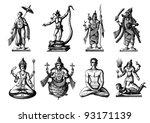 engraving vintage hindoo...   Shutterstock .eps vector #93171139