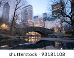 central park bridge at dawn in... | Shutterstock . vector #93181108