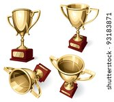 sport cup. set of four views.... | Shutterstock .eps vector #93183871