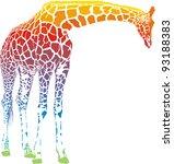 giraffe with rainbow... | Shutterstock .eps vector #93188383