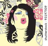 drawing a beautiful young woman ... | Shutterstock . vector #93197509