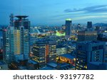 Aerial nighttime view of Kobe, Japan. - stock photo