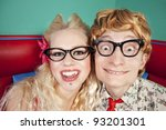 funny nerdy couple | Shutterstock . vector #93201301