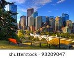 HDR Park bench overlooking Skyscrapers of Calgary, Alberta, Canada