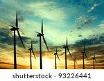 wind turbines farm at sunset | Shutterstock . vector #93226441