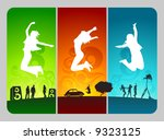 funky active people on colorful ... | Shutterstock .eps vector #9323125