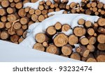 Snow Log Stack Lumber In Winte...
