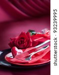 Restaurant series. Valentine' day   dinner with table setting in red and holiday elegant  heart ornaments - stock photo