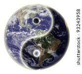 Small photo of Yin and yang symbol and globe or earth. Earth picture credit to: http://www.nasa.gov