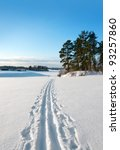 Cross country ski track in rural landscape - stock photo