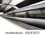train in blurred motion at...