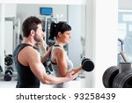 gym woman personal trainer man... | Shutterstock . vector #93258439