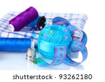 bright blue yarn  fabric and... | Shutterstock . vector #93262180