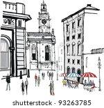 historic old buildings ... | Shutterstock .eps vector #93263785