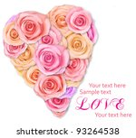 soft pink roses arranged in a... | Shutterstock . vector #93264538