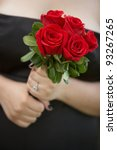 bridesmaid holding wedding... | Shutterstock . vector #93267265