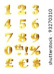 3d set of gold numerals ... | Shutterstock . vector #93270310