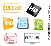 hd icons set. vector... | Shutterstock .eps vector #93270433