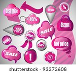 sale pink icons collection | Shutterstock .eps vector #93272608