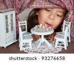 little girl looking through a... | Shutterstock . vector #93276658