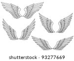 set of wings for heraldry design | Shutterstock .eps vector #93277669