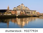 Morning by the river Liffey in the city center of Dublin, Ireland. - stock photo