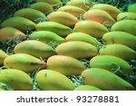 row of fresh raw mango - stock photo