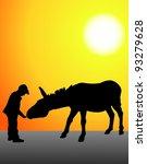 Vector Child Feeding A Donkey