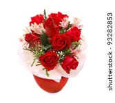 Stock photo roses bouquet in red vase isolated on white background 93282853