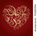 retro red patterned heart | Shutterstock .eps vector #93283396