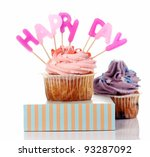 birthday cupcakes with colorul... | Shutterstock . vector #93287092