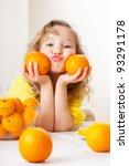 Child With Oranges. Happy...