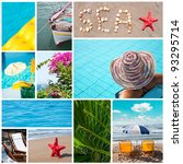 Colorful sea collage - Summer vacation conceptual images - stock photo