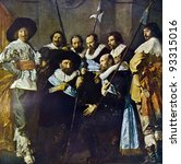 """Small photo of Frans Hals and Pieter Codde """"The meagre company"""". Reproduction from illustrated Encyclopedia «Art galleries of Europe», Partnership «M. O. Wolf», St. Petersburg - Moscow, Russia , 1901"""