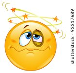 beat up emoticon seeing stars... | Shutterstock .eps vector #93317689