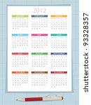 calender for 2012 on graph... | Shutterstock .eps vector #93328357