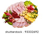dish with sliced smoked ham ... | Shutterstock . vector #93332692