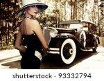 woman in hat against retro car. | Shutterstock . vector #93332794