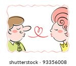 Adult couple blowing the love kisses - stock vector